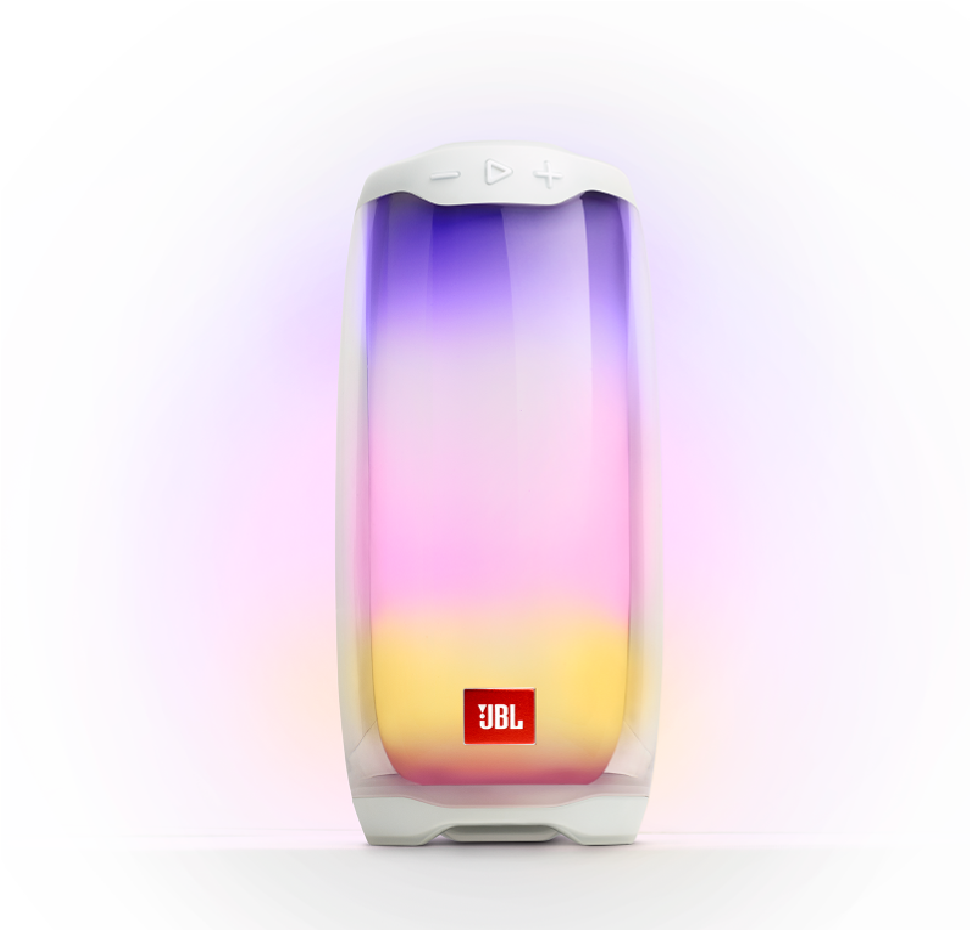 JBL Pulse 4, Bluetooth Speaker (IPX7) with 360 LED light effects (White)