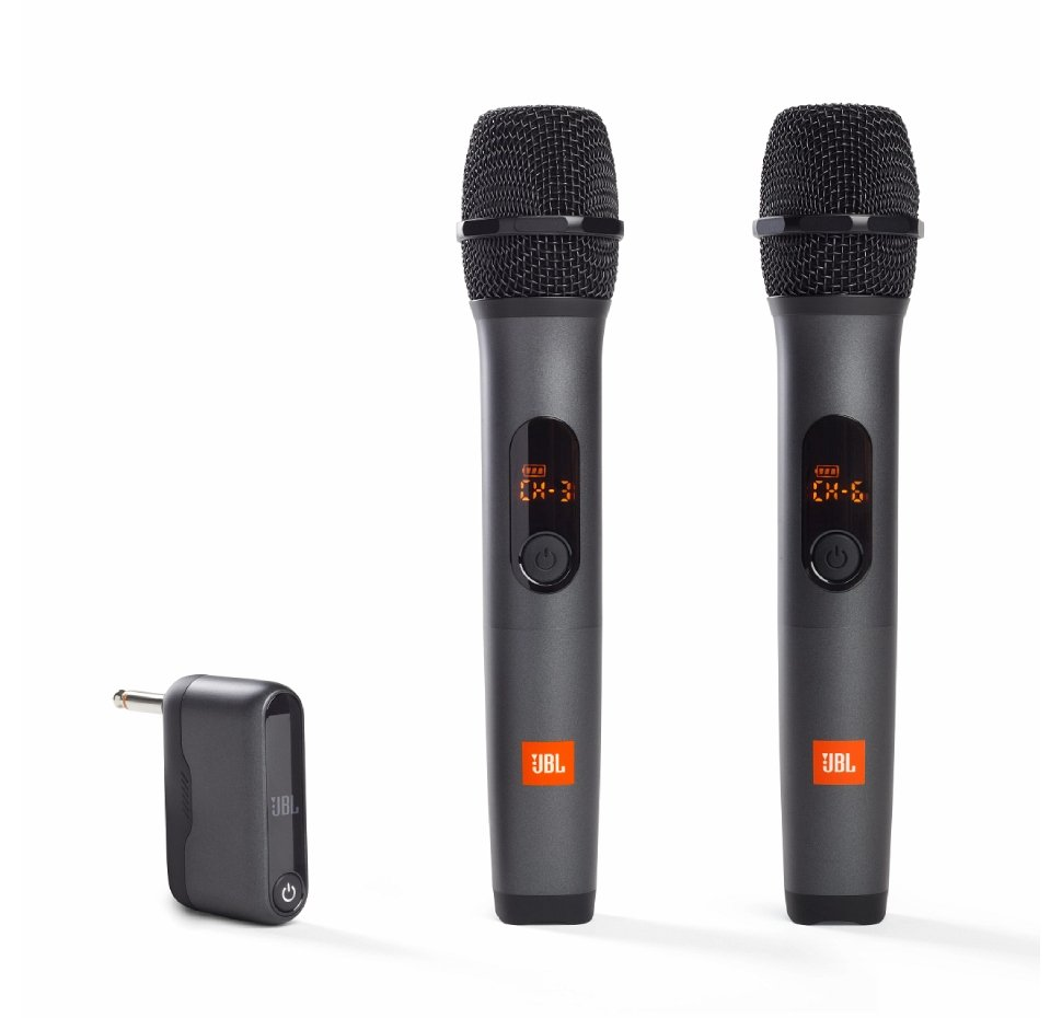 Wireless Mic x2 & Dongle Receiver, 6.35mm head Jack (Black)