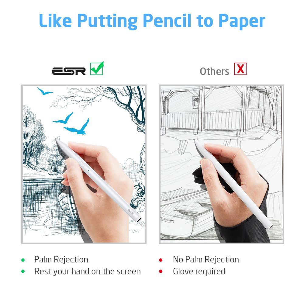 ESR Digital+ Ψηφιακή Γραφίδα Αφής με Palm Rejection για iPad σε Λευκό χρώμα
